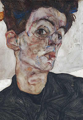 Egon Schiele Self-Portrait with Physalis 1912 - Detail